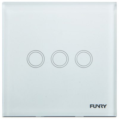 FUNRY Home Touch Switch 3 Gang 1 Way Intelligent Control Switch  -  EU Standard