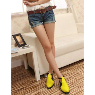 Casual Destroy Wash Slimming Denim Shorts For Women