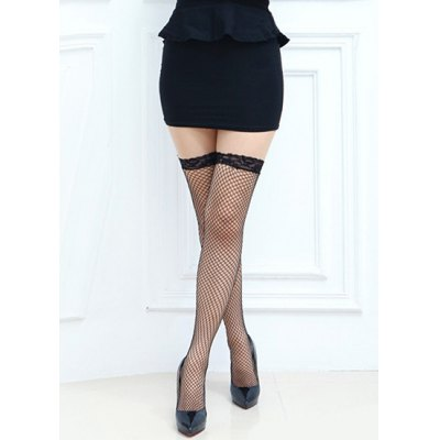 Pair of Chic Lace Edge Embellished Openwork Small Mesh Stockings For Women