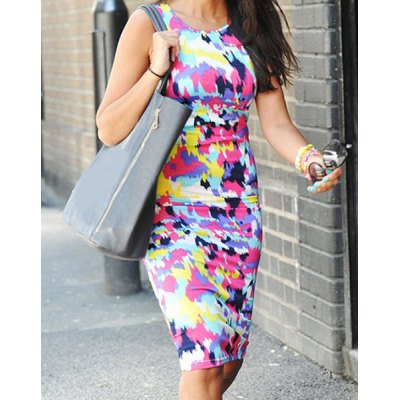 Sexy Scoop Neck Sleeveless Colorful Women's Dress