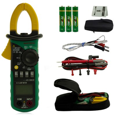 MASTECH MS2008B Auto Range Digital AC Clamp Meter 4000 Counts Ammeter Voltmeter OhmmeterMultimeters &amp; Fitting<br>MASTECH MS2008B Auto Range Digital AC Clamp Meter 4000 Counts Ammeter Voltmeter Ohmmeter<br><br>Brand: MASTECH<br>Model: MS2008B<br>Material: ABS<br>Type: Professional instruments<br>Professional instruments: Clamp Meter<br>Primary functions: Tests AC/DC Voltage, AC Current, Resistance<br>Scope of application: Education,Home appliance,Office<br>Product weight: 0.245 kg<br>Package weight: 0.550 kg<br>Product size: 20.80 x 7.80 x 5.50 cm / 8.19 x 3.07 x 2.17 inches<br>Package size: 24.00 x 11.50 x 6.80 cm / 9.45 x 4.53 x 2.68 inches<br>Package Contents: 1 x MASTECH MS2008B 4000 Counts Auto Range Digital AC Clamp Meter, 2 x Test Lead, 1 x Carry Bag, 1 x English User Manual