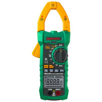 MASTECH MS2115B Digital Clamp Meter Inrush Current 6600 Counts True RMS Data Holding