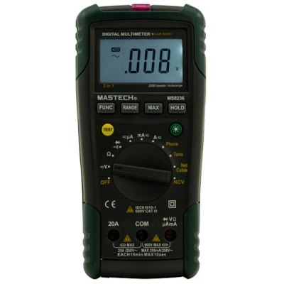 MASTECH MS8236 Digital Network Multimeter NCV DMM Non - Contact Voltage Detector