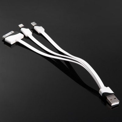 20cm 3 in 1 Micro USB 8 Pin and 30 Pin Charging and Sync Cable of Flat Design
