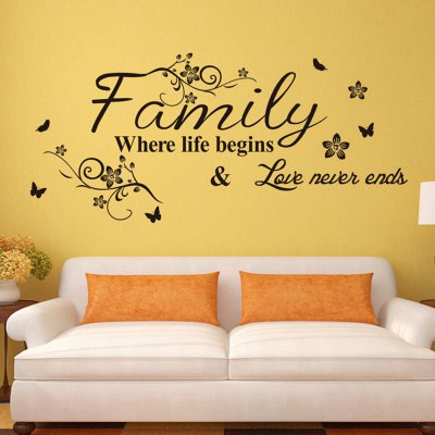 Family English Word Pattern Home Appliances Decoration Wall StickerWall Stickers<br>Family English Word Pattern Home Appliances Decoration Wall Sticker<br><br>Art Style: Plane Wall Stickers<br>Functions: Decorative Wall Stickers<br>Hang In/Stick On: Bathroom,Living Rooms,Bedrooms,Nurseries,Offices,Cafes,Hotels,Toilet,Stair,Lobby,Kids Room<br>Material: Vinyl(PVC)<br>Package Contents: 1 x Wall Sticker<br>Package size (L x W x H): 28.00 x 5.00 x 5.00 cm / 11.02 x 1.97 x 1.97 inches<br>Package weight: 0.1160 kg<br>Product size (L x W x H): 57.00 x 28.00 x 0.10 cm / 22.44 x 11.02 x 0.04 inches<br>Product weight: 0.0660 kg