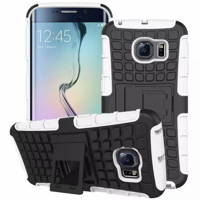 Stand Design TPU and PC Material Tire Pattern Protective Back Cover Case for Samsung Galaxy S6 Edge G9250