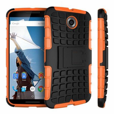 Stand Design TPU and PC Material Tire Pattern Protective Back Cover Case for Google Nexus 6