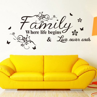 Family English Word Pattern Home Appliances Decoration Wall Sticker