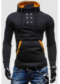 Novel Double-Breasted Embellished Hooded Color Splicing Slimming Long Sleeves Men's Hoodie