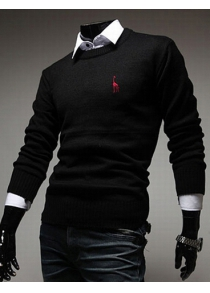 Casual Round Neck Fawn Embroidery Slimming Solid Color Long Sleeves Men's Sweater