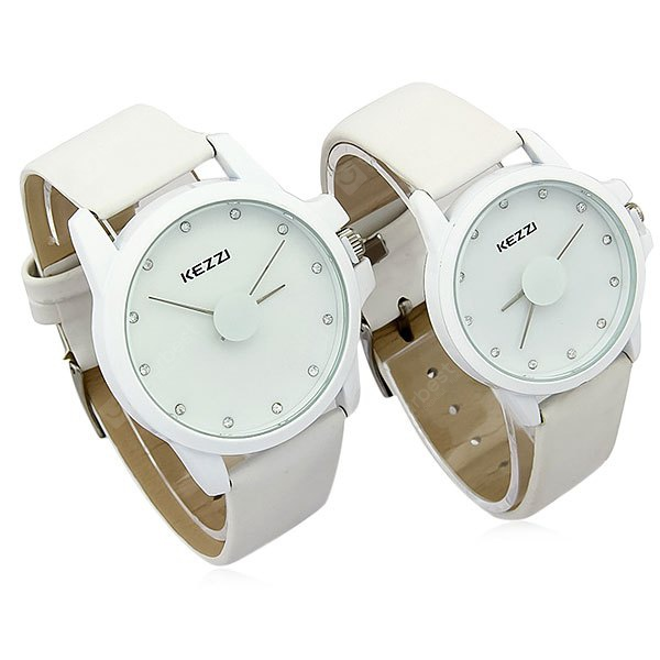 Kezzi Analog Quartz Watch Round Dial Leather Strap for Lover Couple