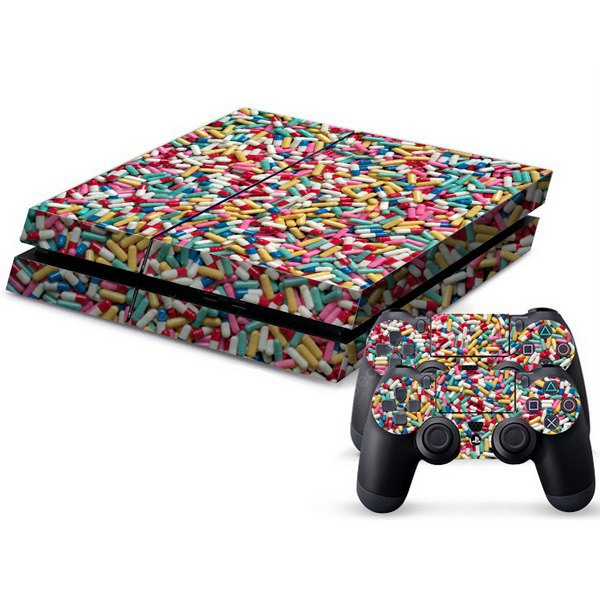Capsule Style Game Console and Handle Protection Stickers Skin Decal for PS4