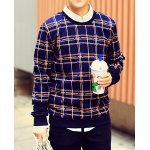 Buy Cadetblue Modern Style Round Neck Personality Plaid Print Slimming Long Sleeves Men's Sweatshirt-33.33 Online Shopping GearBest.com