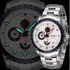 Weiqin Functional Sub - dial Sports Racing Watch with Steel Band Calender Stopwatch for Men deal