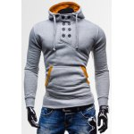 Buy Light gray Novel Double-Breasted Embellished Hooded Color Splicing Slimming Long Sleeves Men's Hoodie-17.68 Online Shopping GearBest.com