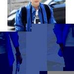 Buy Fashion Turn-down Collar Creative Pattern Slimming Long Sleeves Men's Cotton Blend Shirt S BLUE