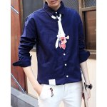 Buy Blue Simple Cartoon Print Turn-down Collar Slimming Solid Color Long Sleeves Men's Shirt-27.67 Online Shopping GearBest.com