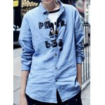 Buy Laconic Solid Color Turn-down Collar Letters Print Slimming Long Sleeves Men's Cotton Blend Shirt 2XL BLUE