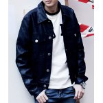 Buy Trendy Turn-down Collar Letters Print Slimming Solid Color Long Sleeves Men's PU Leather Coat L BLACK