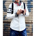 Buy Fashion Stand Collar Camouflage Letters Print Slimming Rib Splicing Long Sleeves Men's Jacket M WHITE