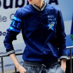 Buy Fashion Stand Collar Camouflage Letters Print Slimming Rib Splicing Long Sleeves Men's Jacket XL BLUE