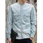 Buy Laconic Stand Collar Double Pocket Slimming Solid Color Long Sleeves Men's Denim Shirt S LIGHT BLUE