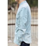 Buy Laconic Stand Collar Double Pocket Slimming Solid Color Long Sleeves Men's Denim Shirt XL LIGHT BLUE