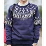 Buy Casual Round Neck Solid Color Slimming Paisley Print Long Sleeves Men's Cotton Blend Sweatshirt M DEEP BLUE