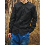 Buy Black Chinese Style Stand Collar Slimming Solid Color Button Fly Long Sleeves Men's Cotton Blend Shirt-22.43 Online Shopping GearBest.com