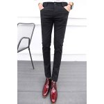 Buy Casual Zipper Fly Plaid Print Slimming Pocket Embellished Straight Leg Men's Pants 28 DEEP GRAY