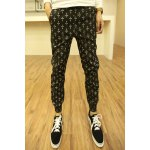 Buy Stylish Lace-Up Personality Cross Print Slimming Solid Color Narrow Feet Men's Jogger Pants XL BLACK