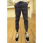 Buy Blue Stylish Lace-Up Personality Cross Print Slimming Solid Color Narrow Feet Men's Jogger Pants-27.58 Online Shopping GearBest.com