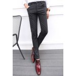 Buy Classic Stripes Print Zipper Fly Slimming Casual Design Straight Leg Men's Cotton Blend Pants 28 DEEP GRAY