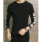 Buy Casual Round Neck Solid Color Slimming Simple Letters Print Long Sleeves Men's T-Shirt 2XL BLACK