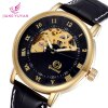 Gucamel Analog Mechanical Watch Hollow - out Design Genuine Leather Band for Men deal