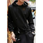 Buy Black Novel Hooded Personality Belt Design Loose Fit Solid Color Long Sleeves Men's Hoodie-31.47 Online Shopping GearBest.com