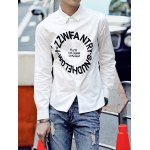 Buy Laconic Turn-down Collar Letters Personality Print Slimming Long Sleeves Men's Shirt M