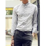 Buy Refreshing Turn-down Collar Personality Print Slimming Solid Color Long Sleeves Men's Shirt M