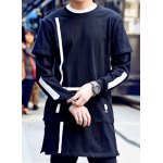 Buy Novel Round Neck Stripes Print Loose Fit Splicing Design Faux Twinset Long Sleeves Men's T-Shirt S