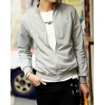 Buy Laconic Stand Collar Paint Dot Slimming Solid Color Zipper Fly Long Sleeves Men's Sweatshirt M
