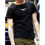 Buy Laconic Solid Color Round Neck Letters Print Slimming Short Sleeves Men's T-Shirt M