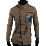 Buy Trendy Inclined Zipper Stand Collar Slimming PU Leather Pocket Long Sleeves Men's Coat 2XL