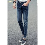 Buy Slimming Trendy Zipper Fly Metal Embellished Bleach Wash Crimping Narrow Feet Men's Jeans 33 BLUE
