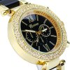 best Geneva Analog Unisex Quartz Watch Diamond Bezel Steel + Plastic Band Round Dial