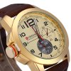 best Curren 8182B Men Quartz Watch Leather Band with Non - functioning Sub - dials
