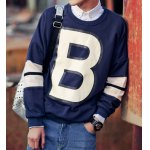 Buy Deep blue Loose-Fitting Letters Print Round Neck Solid Color Long Sleeves Men's Cotton Blend Sweatshirt-24.37 Online Shopping GearBest.com