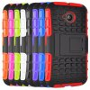 cheap Stand Design TPU and PC Material Tire Pattern Protective Back Cover Case for Motorola Moto E2