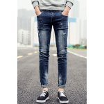 Buy Stylish Personality Paint Dot Zipper Fly Slimming Bleach Wash Narrow Feet Men's Jeans 33