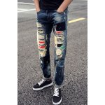 Buy Trendy Zipper Fly Colorful Patch Paint Dot Embellished Slimming Destroy Wash Straight Leg Men's Jeans 28 BLUE