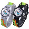 Buy Analog Quartz Watch Dinosaur Design Rubber Band Children BLACK